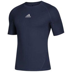 Adidas Mens Alphaskin Sport Short Sleeve Blue Navy